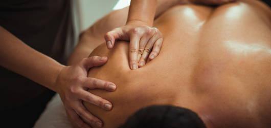 man having a deep tissue massage